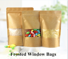 Self-sealed Stand Up Zip Lock Kraft Paper Brown Food Storage Bag With Dull Polish Matte Window Pouches Zipper Bag