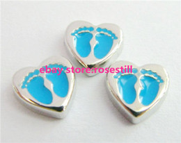 Wholesale New Design FC175 Footprints Heart floating locket charms for floating living locket as gift wholesales