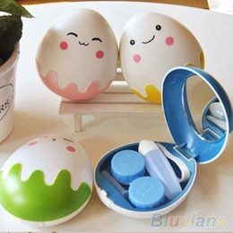 Wholesale Cute Egg Design Travel Contact Lens Case Box Set Cleaning Holder Soak Storage S4P