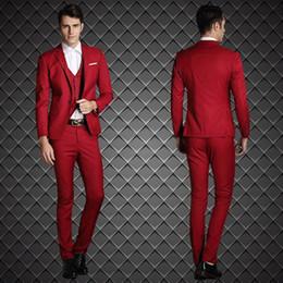2015 New Arrival Groom Tuxedos Red Custom Made Groomsmen Best Man Men Wedding Suits Prom Tuxedos Slim Fit ( Jacket+Pants+Vest+Tie+Hanky)