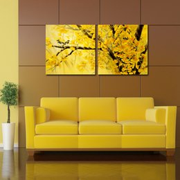 Wholesale 2 Panels Gingko Tree Modern Pictures Living Room Decorative Canvas Painting Modern Huge Picture Wall Canvas Print