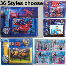 Wholesale Watches Wallet Purse Sets Kids Cartoon Quartz Lovely Boy Girl Children Watch Bracelets Mixed Order Styles Big Hero Baymax Minions DHL