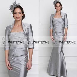 Wholesale John Charles HOT New Mother Of The Groom Long Dresses Sleeves Silver Mermaid Strapless Jacket Detachable Beads Taffeta Dresses HOT