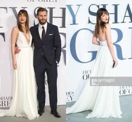 Hottest New Fifty Shades of Grey Dakota Johnson Gorgeous Deep V-neck Ivory Chiffon Red Carpet Celebrity Dress Spaghetti Straps 2019 Evening