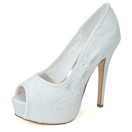 Wholesale 3128 Amazing White Lace Punps Wedding Shoes Size CM Waterproof CM Custom Made For Bride Evening Shoes For Womens