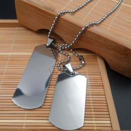 2x Military Army Dog Tag Real Mens Stainless Steel Pendant 30inch Ball Bead Chain Necklace