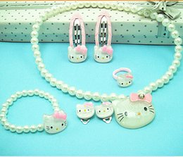 Wholesale 2014 cute cartoon pearl KT drill Barrettes necklace hair clips hairpin Childrens gift girls Hair Accessories piece suit topB576 set