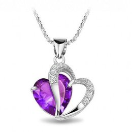 Wholesale 100 Silver Factory Gift certificates Xinyu Wish rhodium Amethyst Pendant Beautiful Heart Purple Diamond Jewelry