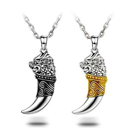 925 silver items crystal jewelry statement necklaces vintage charms wolf spike Totem infinity pendant Tibetan style