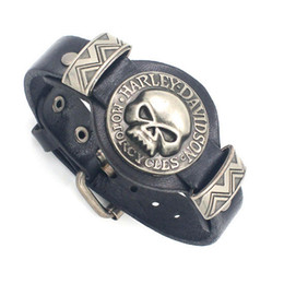 Wholesale Skull Skeleton Watch Watchband Design Adjustable Leather Charm Bracelet Bangle Punk Rock Hiphop Amulet Fashion Jewelry