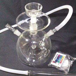Hot Selling Recycler Glass Bong With One Hose And Oil Rig Arab Hookah Pipe Water Pipe Built-in LED Light