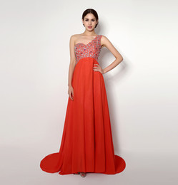 2015 Coral Cheap Beade Prom Dresses One SHoulder A Line Floor Length Back Hollow Vestidos de Festa formal Evening Dress
