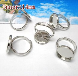 Wholesale-Round Ring Settings 100pcs lot 14mm Silver Stamping Blanks Unadjustable for Cameo Base Blank women DIY