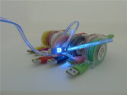 Wholesale Micro USB Smiley Light data lines LED lights Automatic gradient Light data lines Light emitting mobile phone charging cable