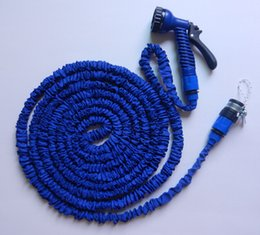 Wholesale 100FT HOSE Expandable Flexible Water Hose Garden Flexible Water Hose with Spray Nozzle Retail Packing DHL Free