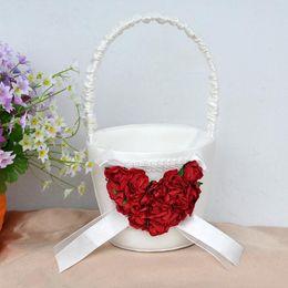 Wholesale Romantic Ivory Satin Red Rose Flower Wedding Flower Girl Basket Wedding Christmas Decorations Wedding Gifts