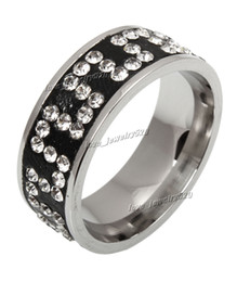 5pcs 316L Rings Fashion Wholesale lots Jewelry Titanium Black Clearly 4Row rhinestone Band Stainless Steel Ring Size 7-11