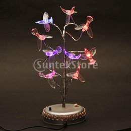 Wholesale LED Artificial Bonsai Tree with Humming Birds Multi colored Light Ornament Lamp