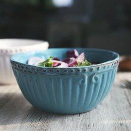 Wholesale Chinese Ceramic Kitchen Bowl White Blue Antique Handmade Porcelain Soup Bowl Ceramic quot quot European Design