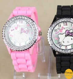 free shipping 10pcs lot,Diamond crystal Hello kitty Silicone Band Quartz Wrist Watch For Unisex Gift 10 Color Available