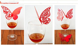 2014 New Butterfly Laser Cut Glass Cards Name Place cards Table Cards Wedding Party Favors Table Decoration 8 Color to choose free shipping