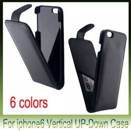 For Iphone 6 Iphone6 Plus 4.7 5.5 inch Real True Genuine Flip vertical Up and Down Leather cover case Slot cases