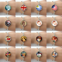 Wholesale Metal jewelry Glass cabochon dome Unicorn baby Kids dick and jane charm pendant Vintage bracelet Gift for boys and girls HP51