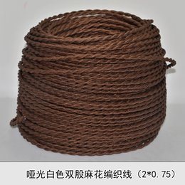 Wholesale 2 MM2 Vintage wire brown knitted cloth electrical wire copper conductor electrical wire pendant light lamps line meters