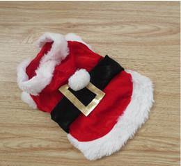 2017 capas superiores del traje Escudo del perro de perrito de Santa ropa con capucha Disfraz Ropa Outwear Pet Navidad Roja figura TOP envío libre presupuesto capas superiores del traje