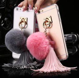 Promotion cas transparents pour iphone 4s 5pcs Pour iphone 4s 5s 6 6s 6s Plus Case Transparent Rex Rabbit Fur Ball Tassels Boîtiers en anneau en métal Soft TPU + Hard PC Couvercle Girly Coque Cases
