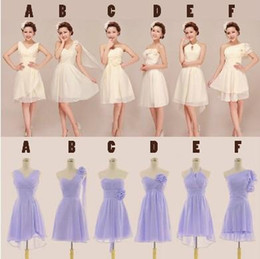 New fashionable chiffon strapless pleated Short Bridesmaid Dresses with flower 2019 style A-F