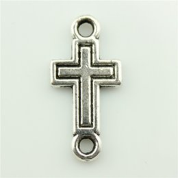Wholesale Side Cross Silver Connector - 120pcs lot 23*11mm antique silver color zinc alloy double sided cross connector charm, diy vintage jewelry wholesale