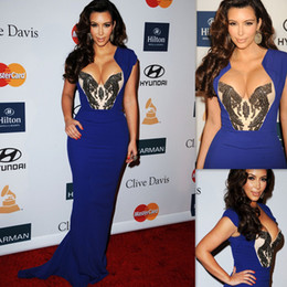 Robes moulantes kardashian en Ligne-Kim Kardashian robes de soirée en satin bleu sirène Bodycon robes de soirée de bal 2011
