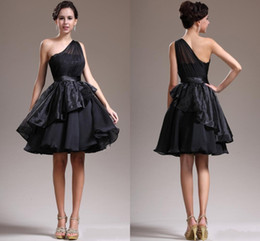 2015 New Charming Short Prom Desses Custom Made Plus Size One Shoulder Knee Length Ball Gown Chiffon Bridesmaid Dress Black Prom Gowns