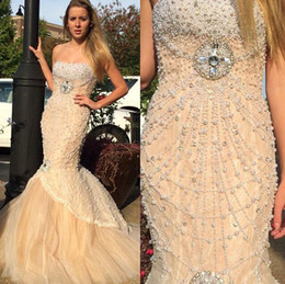 New Style 2019 Vintage Crystal Nude Pearls Prom Dress Beaded Mermaid Lace Tulle Floor Length Evening Dresses