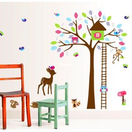 Wholesale bedroom decoration Wall Stickers DF5078 Happy Childhood Cartoon children s room wall stickers arranged special nursery wall sticke