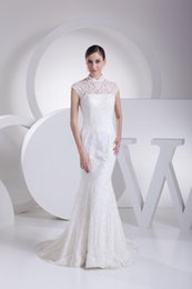 Wholesale Chic High Collar Lace Appliques Empire Mermaid Ivory Wedding Gowns Haute Couture Free Shiping Australia
