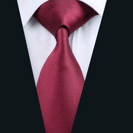 Solid Burgundy Necktie for Men Jacquard Woven Silk Tie Business Party Formal Meeting 8.5cm Width Necktie D-0430