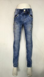 Wholesale Hot Selling Girl Tight jeans Simple Slim Style Printed fabrics Waist Tight Jeans Flexible Blue Fashion DHL