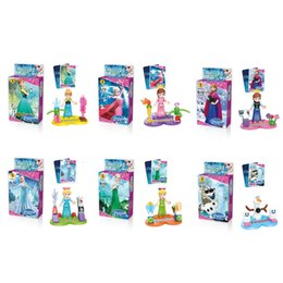 Wholesale 6pcs Girls Friends Minifigures Building Blocks Sets action Figures brinquedos Anna Elsa Frozen toys DIY bricks baby toy