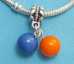 Free Shipping Vintage Bracelet 100pcs Alloy Beads Orange and Blue Charm Pendant DIY Metal Jewelry S2076