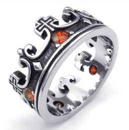 Mens Cubic Zirconia Stainless Steel Ring Vintage Crown Red Black Silver US Size 7 to 14