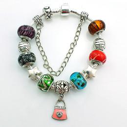 Fashion Lock Charm Bracelet For Men With Glass Murano Ceramic Beads European Brand Infinity Bracelets DIY Jewelry