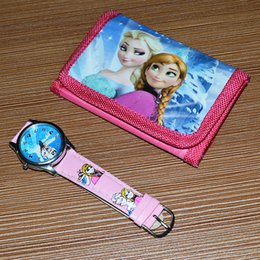 5set lot Cartoon Purse Watch Children Girls Birthday Christmas Halloween Gift Wristwatch Wallet Set sw100
