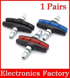 Wholesale 1 Pair Mountain Road Bicycle Brake Pads Cycling Bike Braking V Brake Holder Shoes Rubber Blocks Durable Parts