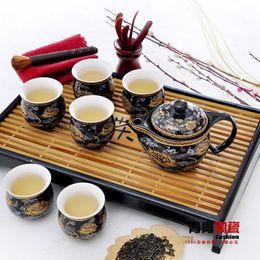 Wholesale-Double layer home tea set bone china ceramic tea set 6 cup 1 teaports quality gift box set