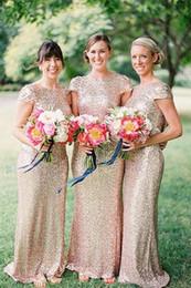 Sparkle Sheath Jewel Short Sleeves Floor-Length Gold Sequins Bridesmaid Dresses Shining Prom Dresses 2015