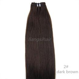 Descuento marrón recta armadura brasileña del pelo Extensión brasileña brasileña del pelo humano de Remy de las extensiones del pelo recto brasileño 7A 100g 1pcs 16