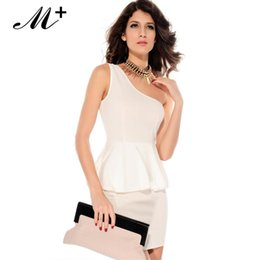 Women Summer Dress Sexy Dress White One-shoulder Double-layer Bodycon Mini Career Peplum Dress LC2729 Free sippping