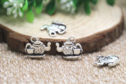 Wholesale 20pcs Tea Pot Charms Antique Tibetan silver Teapot Charms With Little Tea Cup charms pendants mm x mm